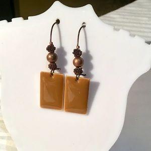 Artisan Copper Enamel Earrings
